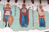 Orthodox icon on wall — Stock Photo