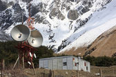 Microwave tower in mountains — Stock Photo