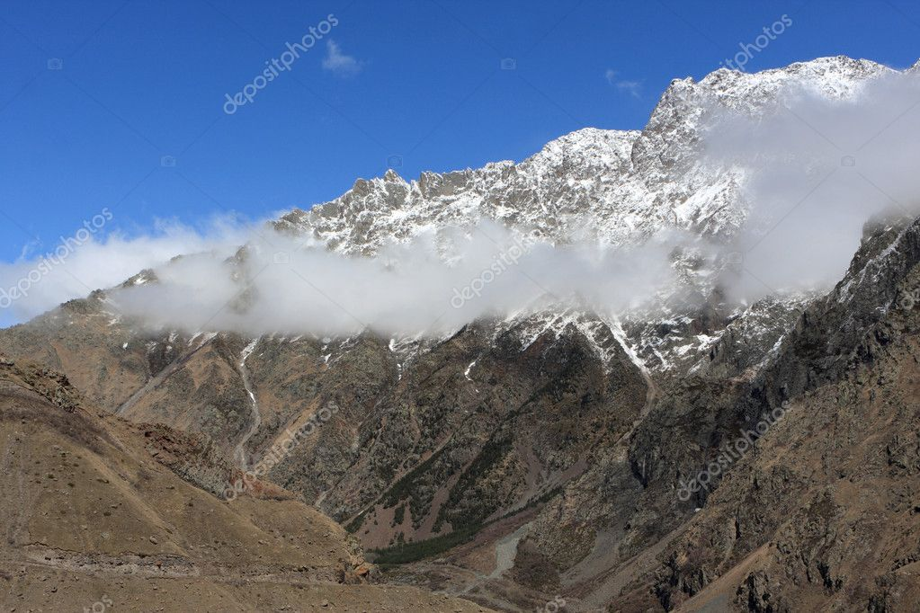 Gudauri Jvari pass on Georgian Military Road. It is historic name for a major route through the Caucasus from Georgia to Russia — Stock Photo #3116251
