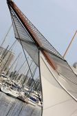 Nose of white yacht — Stock Photo