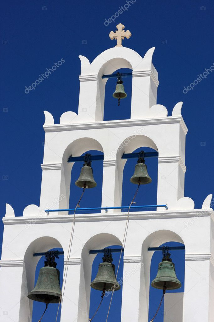 White belfry of greek church at Santorini island, Oia — Stock Photo #3810862