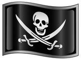 Icône de drapeau de pirate. — Vecteur
