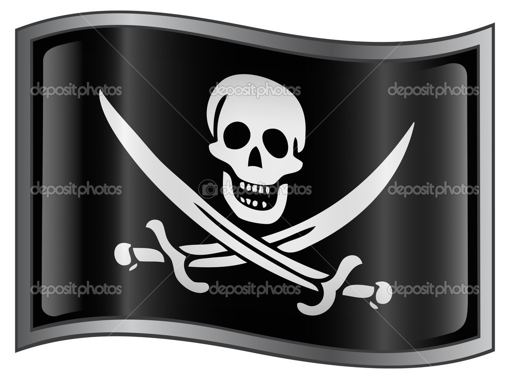 Pirate flag icon, isolated on white background — Stock Vector #2713035