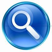 Szukaj i lupa ikona niebieski. — Zdjęcie stockowe