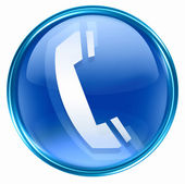 Icône de téléphone bleu. — Photo
