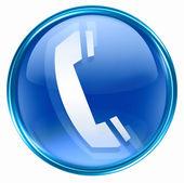 Telefon ikona niebieski. — Zdjęcie stockowe