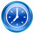 Clock icon blue, isolated on white background — Stock Photo
