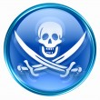 Pirate icon blue, isolated on white background. - Zdjęcie stockowe