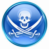 Pirate icon blue, isolated on white background. — Stock Photo