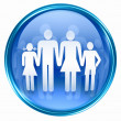 Family icon blue, isolated on white background. - Stock fotografie