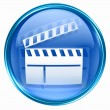 Movie clapper board icon blue. - Stock fotografie