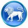 Stock Photo: Lion zodiac button icon, isolated on white background.