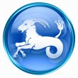 Stock Photo: Capricorn zodiac button, isolated on white background.