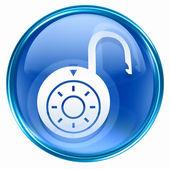 Lock on, icon blue, isolated on white background. — Stock Photo