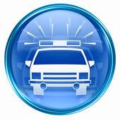 Icône de police bleue, isolé sur fond blanc. — Photo