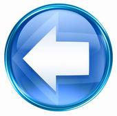 Pfeil links symbol blau, isoliert auf weißem hintergrund. — Stockfoto