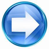 šipka vpravo ikony modré, izolovaných na bílém pozadí. — Stock fotografie
