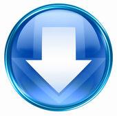 Arrow down icon blue, isolated on white background. — Stock Photo