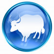 Ox Zodiac icon blue, isolated on white background. - Lizenzfreies Foto