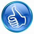 Thumb up icon blue, isolated on white background. - Stock Photo