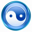 Yin yang symbol icon blue, isolated on white background. — Stock Photo
