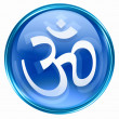 Om Symbol icon blue, isolated on white background. - Lizenzfreies Foto