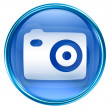 Camera icon blue, isolated on white background - Lizenzfreies Foto