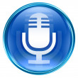 Microphone icon blue, isolated on white background - Stock Photo