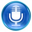 Microphone icon blue, isolated on white background - Lizenzfreies Foto