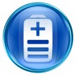 Battery icon blue, isolated on white background — 图库照片