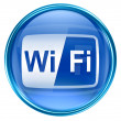 Photo: WI-FI icon blue, isolated on white background