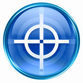 Target icon blue, isolated on white background. — Stok fotoğraf