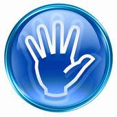 Hand icon blue, isolated on white background. — Stock Photo