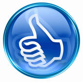 Thumb up icon blue, isolated on white background. — 图库照片