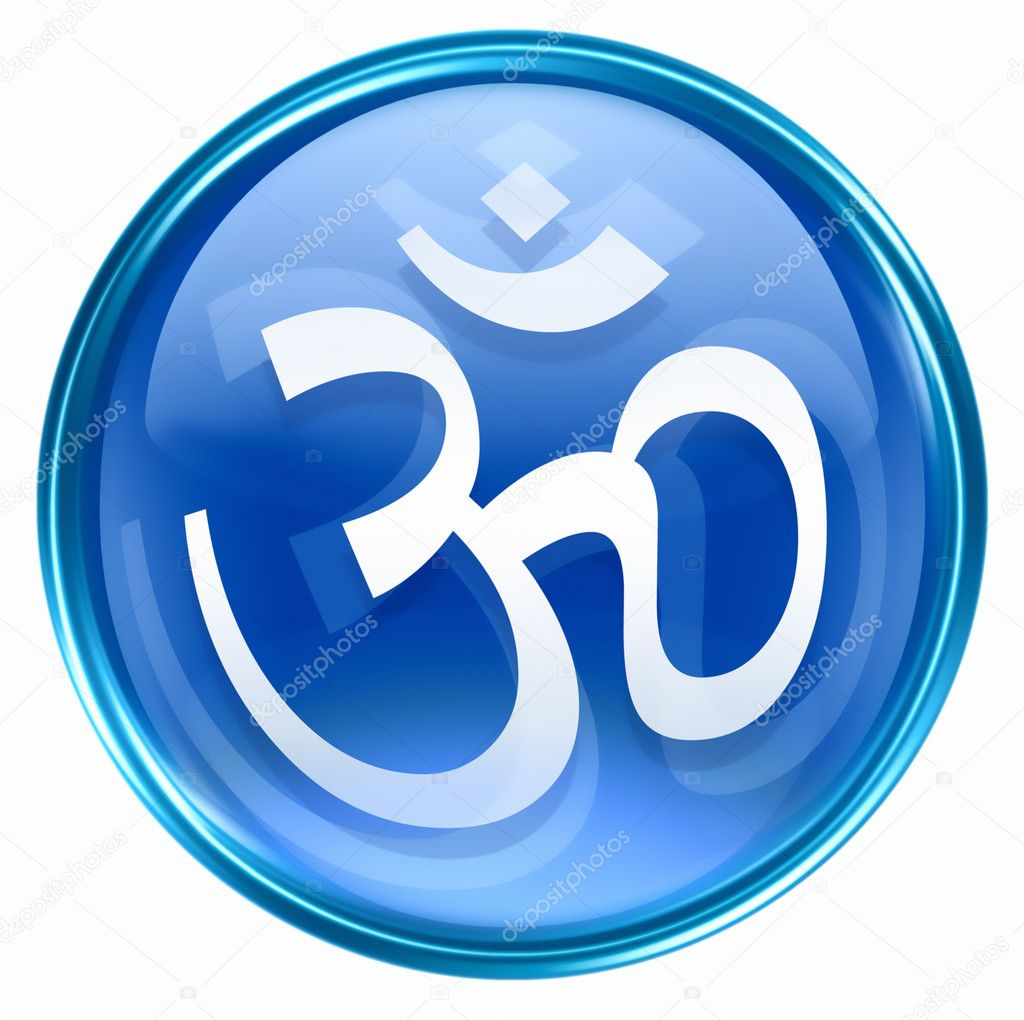 Om symbol icon blue isolated on white background stock Om pic download