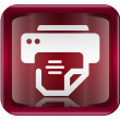 Printer icon dark red, isolated on white background — Imagen vectorial