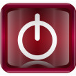 Power button icon dark red, isolated on white background - Stockvectorbeeld