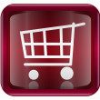 Shopping cart icon dark red, isolated on white background - Stok Vektör