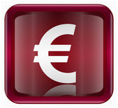 Euro icon dark red, isolated on white background — Stock Vector