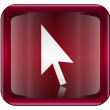 Cursor icon dark red, isolated on white background - Stockvectorbeeld
