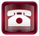 Icono oscuro del teléfono rojo, aislado sobre fondo blanco — Vector de stock