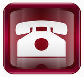 Phone icon dark red, isolated on white background — Cтоковый вектор