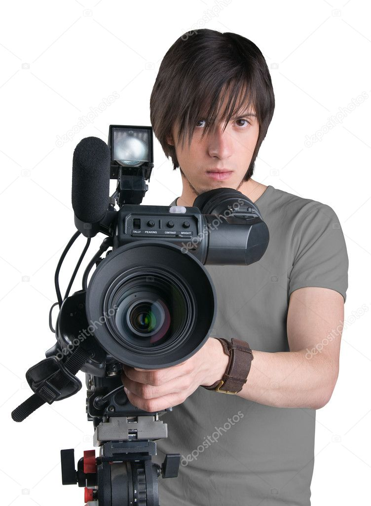 Cameraman, isolated on white background — Stock Photo #3922921