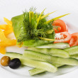 Plate of assorted fresh vegetable — Stock Photo