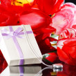 Stock Photo: Tulips and gift