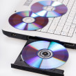Stock Photo: Laptop with open CD tray