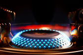 Blue flame of gas burner — Stock Photo