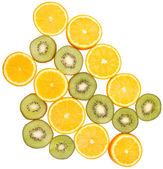 Oranges and kiwi fruits — Stock Photo