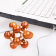 Royalty-Free Stock Photo: Laptop with model of molecule