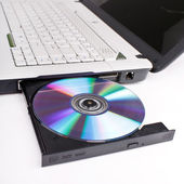 Laptop with open CD tray — Stock Photo